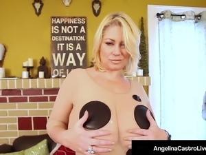 Cuban BBW Angelina Castro & Sam 38G Blow A Big Black Cock!
