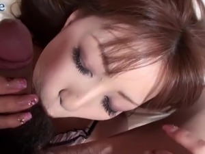 Wearing sexy silk lingerie Rin Yazawa gets her tight pussy fucked by her BF