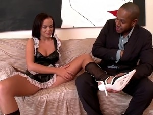 Breathtaking brunette maid being banged hardcore in interracial sex