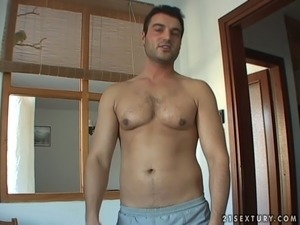 Handsome dude talks over mature mom to strip  on cam