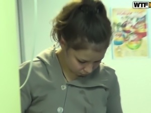 This Russian college cutie fucks on POV video and plays with dick