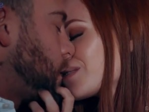 Perfect red haired babe Ella Hughes gives a stunning blowjob to her stud