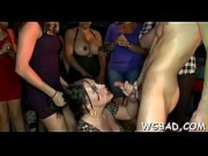 Cute stripper gets his shlong sucked by various hot women