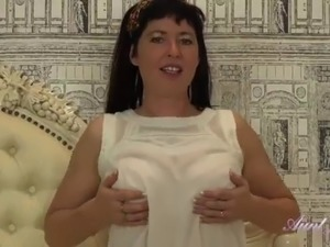 AuntJudys - Busty 42yr-old UK MILF Janey gives JOI & masturbates for you