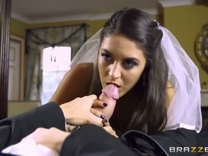 Super hot busty mom teaches shy sexy bride how to swallow thick cock of kinky...