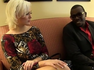 Glamorous blonde wife is finally introduced to big black cocks