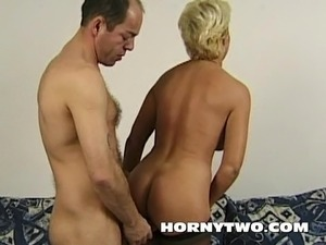 Chubby blonde MILF sucking and getting fucked from behind