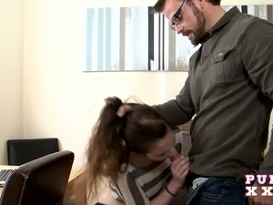 Sweet dark haired coed pleases kinky teacher with steamy BJ in his office