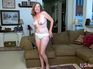 Older mature grandma finger masturbating her extremely hairy pussy