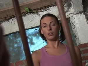 Young sweetthing kissing an ancient dude in prison and sucking him off