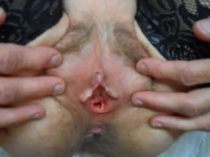 looking at wife's tits and wide open hairy cunthole