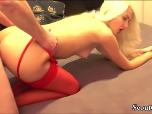Hot German Teen in Red Stockings Privat Fuck with Two Boys