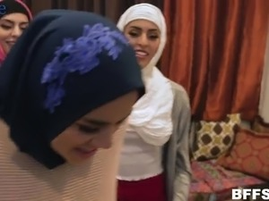 Lusty hijab nympho Sophia Leone pleases strong cock during FFFM