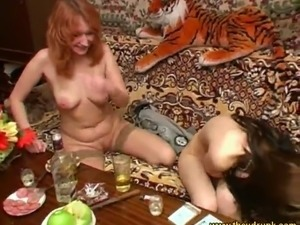 Just weird Russian bitches with red and black hair have naked party