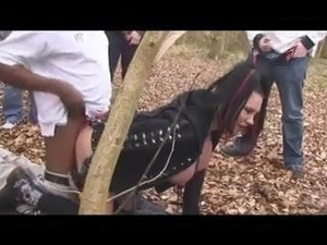 British Goth girl with big tit goes Dogging in the woods